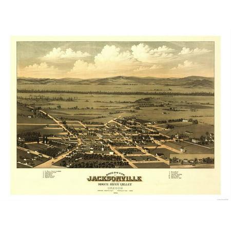 Oregon - Panoramic Map of Jacksonville Print Wall Art By Lantern Press - Halloween Jacksonville Oregon