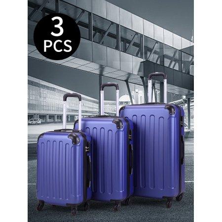 Jaxpety 3 PCs Travel Luggage Set Hardside Travel Trolley Rolling Suitcase ABS+PC, Dark Blue ()