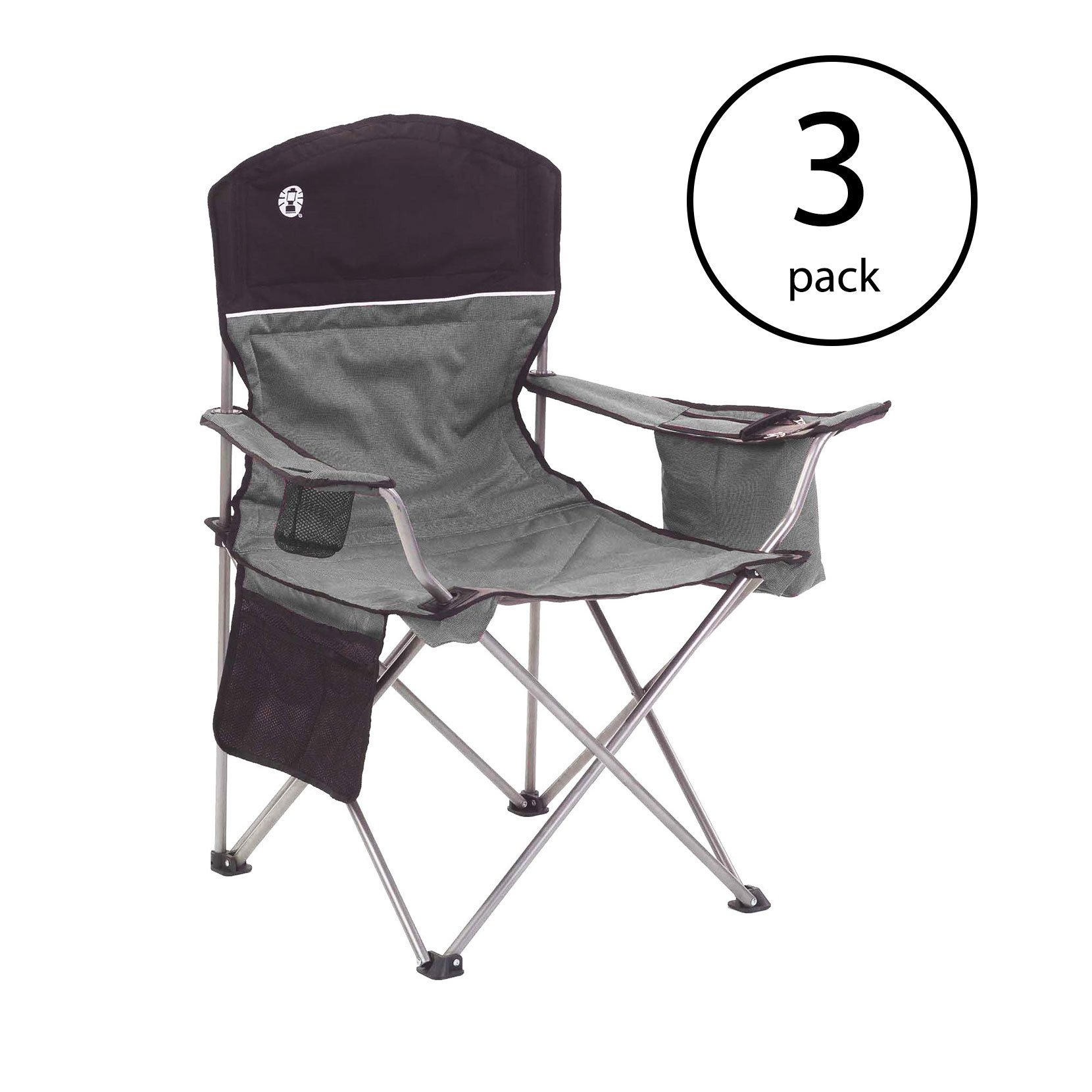 Coleman Oversized Quad Chair with Cooler and Cup Holder, Black/Gray (3 Pack)