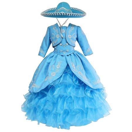 Girls Turquoise Silver Ruffles Embroidery Bolero Hat Mariachi Dress - Mariachi Uniform