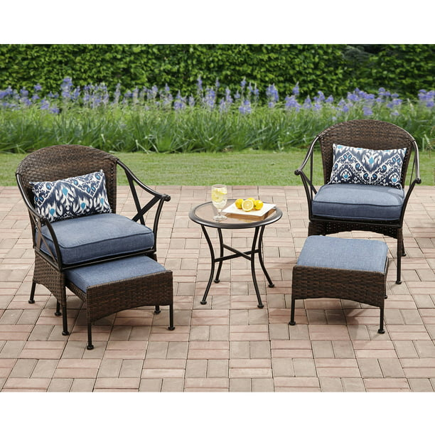Mainstays Skylar Glen 5 Piece Outdoor Chat Set, Blue