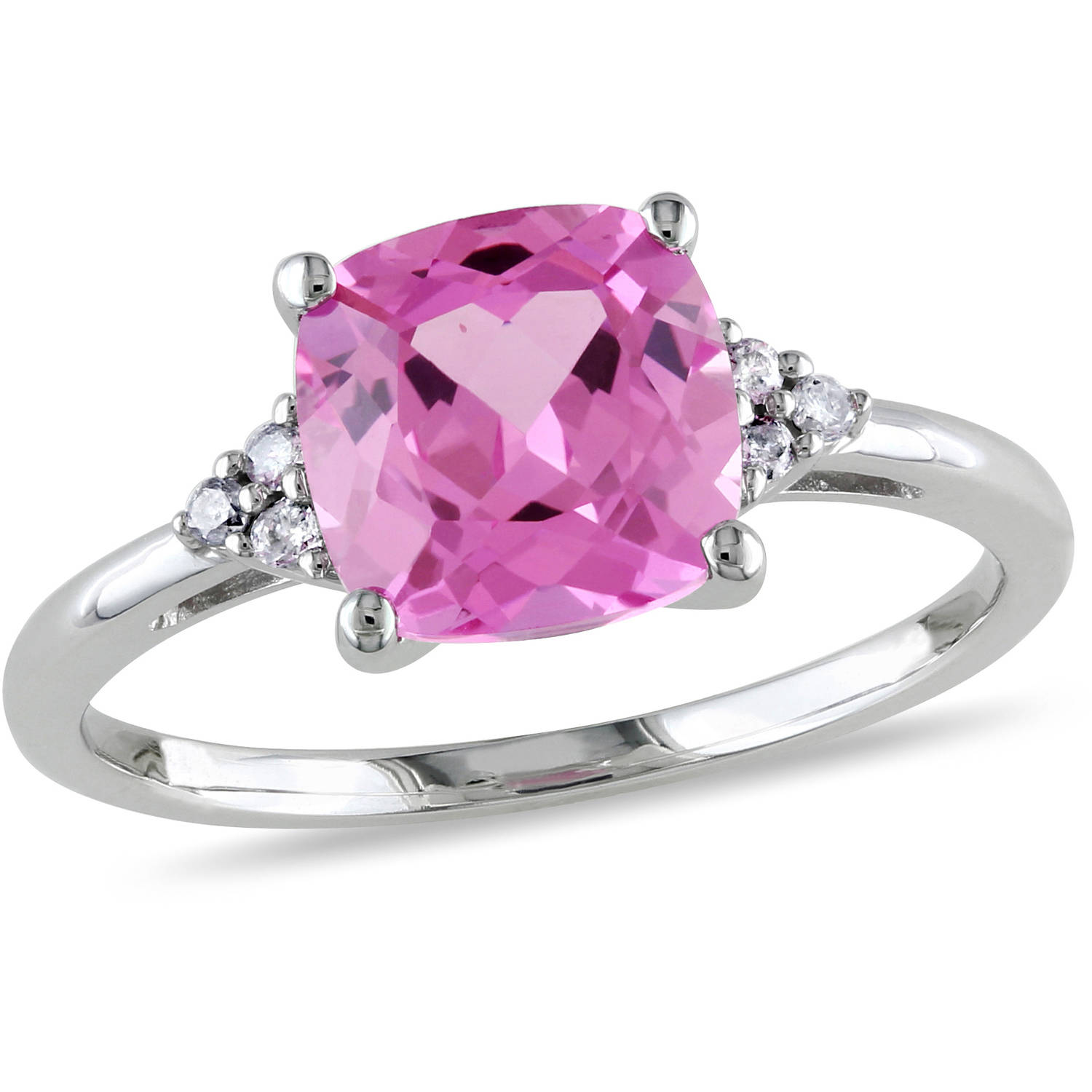 2-3 4 Carat T.G.W. Cushion-Cut Created Pink Sapphire and Diamond-Accent 10kt White Gold Cocktail Ring by Delmar Manufacturing LLC