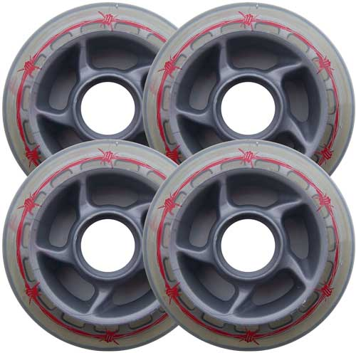 BARBED WIRE 80mm 80a OUTDOOR Inline Skate Wheels 4-Pack