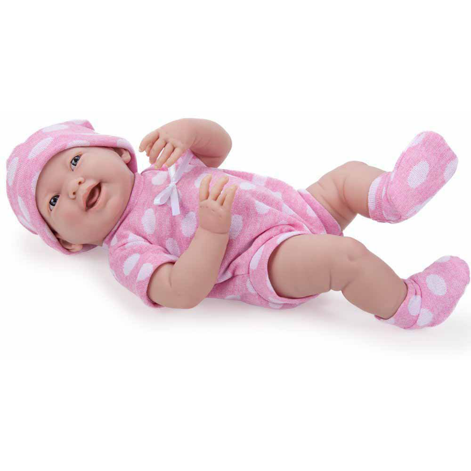 "La Newborn 15"" All-Vinyl Life-Like Baby Doll, Pretty Polka Dot Set, Real Girl"