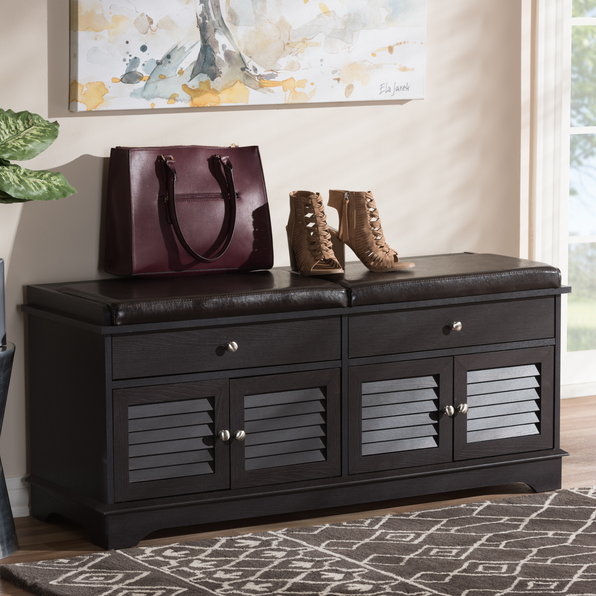 Baxton Studio Leo Modern and Contemporary Dark Brown Wood 2-Drawer Shoe Storage Bench