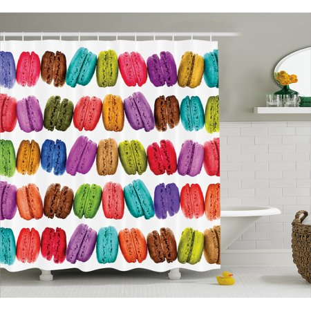 (Colorful Home Decor Shower Curtain, French Macarons in a Row Coffee Shop Cookies Flavours Pastry Bakery Design, Fabric Bathroom Set with Hooks, 69W X 70L Inches, Multi, by Ambesonne)