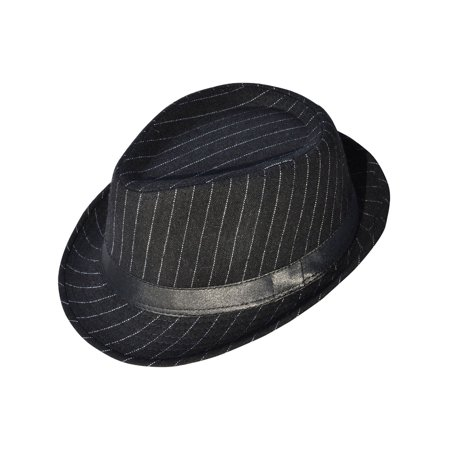 Simplicity Mens Cool Fedora Trilby Hat Pinstripe with Black Band (The Man With The Yellow Hat)
