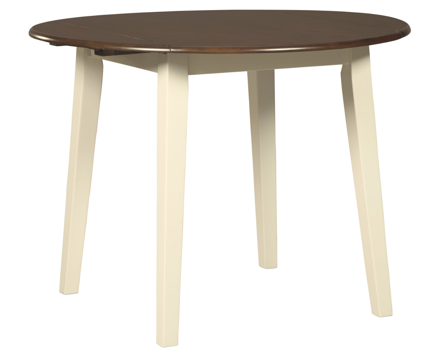 Signature Design By Ashley Woodanville Round Dining Room Drop Leaf Table Casual Style Cream Brown Walmart Com Walmart Com