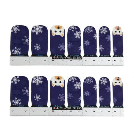 1 Set Snowfake Bear Pattern Nail Beauty Patch Stickers Nails Tips Adhesive