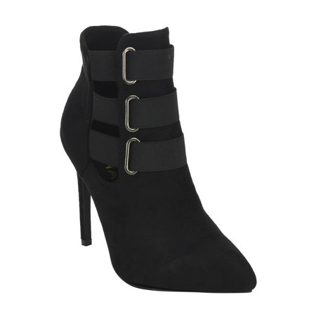 42b99857851 LILIANA GF14 Women s Pointed Toe Elastic Straps Cut Out Stiletto Ankle  Booties - Walmart.com