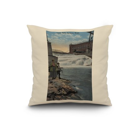 Spokane, WA - Couple Fishing on Lower Falls (20x20 Spun Polyester Pillow, White Border)