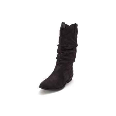 Arizona Jean Co Womens Molara Pointed Toe Mid-Calf Cowboy Boots, Black, Size 8.5