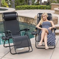 LivingTrend Zero Gravity Chairs Set of 2 with Pillow and Cup Holder Patio Outdoor Adjustable Dining Reclining Folding Ch