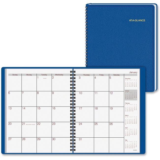 "At-A-Glance Fashion Monthly Planner - Monthly - 1 Year - January 2018 till December 2018 - 1 Month Double Page Layout - 6.87"" x 8.75"" - Wire Bound - Blue - Simulated Leather - Perforated, Memo Section"
