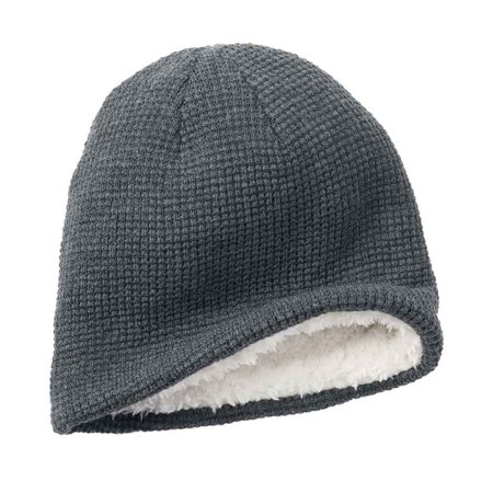 Men Solid Knit Beanie Hat White Faux Fur One Size Charcoal Grey