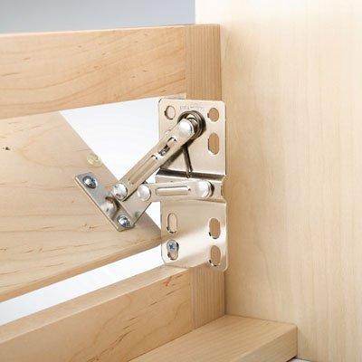 Lazy Daisy Sink Front Pivot Hinge, Self closing hinge is concealed when front is closed. Opens to a 45° angle By Rev-A-Shelf