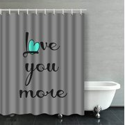 ARTJIA Love You More Black Aqua Heart On Gray Decorative Bathroom Shower Curtain 60x72 inches