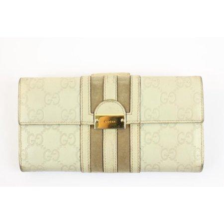 Gucci Ivory GG Guccissima Leather Bifold Wallet Long 92GGA1104 Gucci White Wallet
