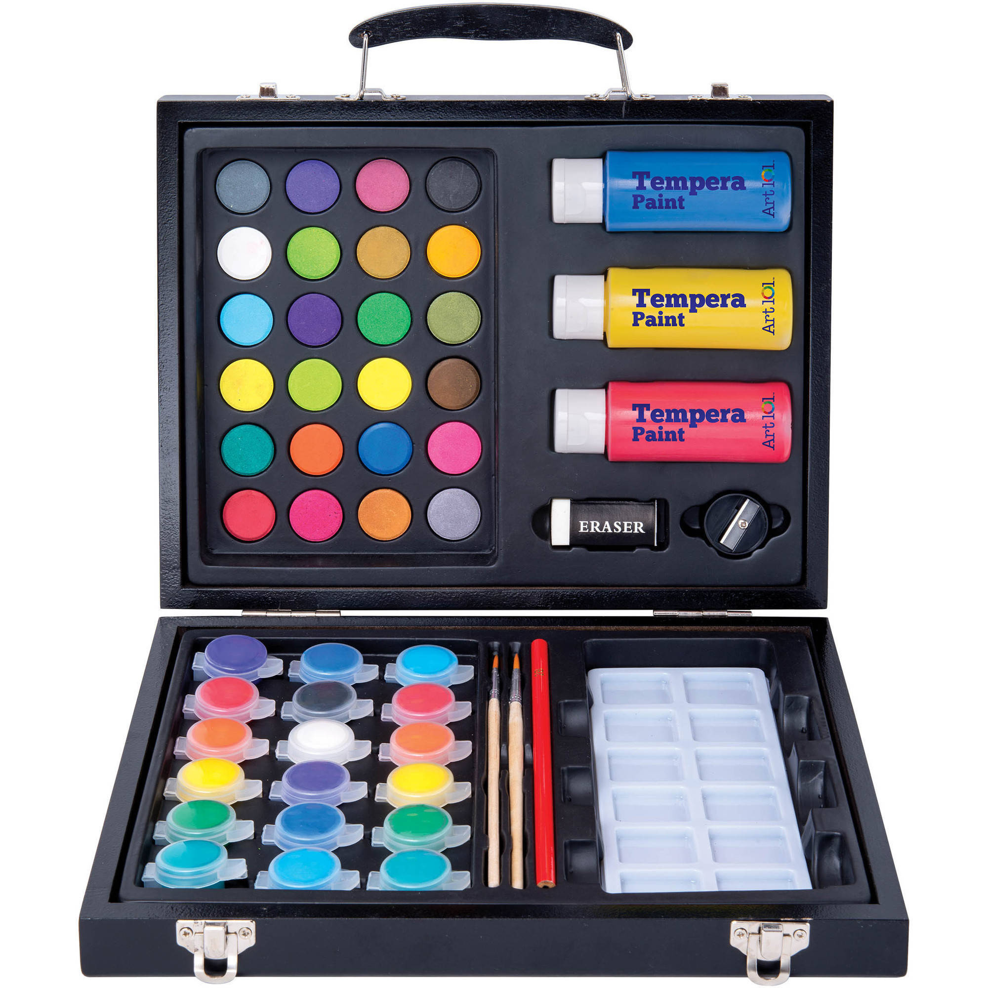 art 101 52 piece deluxe art and washable paint set in wood case walmartcom