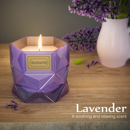 Rackaphile Lavender Scented 16 Oz Glass Jar Candle, Geometric Hexagon Glass Jar, 100% Soy Wax, Lead-Free Cotton Wick, Long Lasting Scent, Gift Box Included
