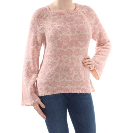 LUCKY BRAND Womens Pink Damask Bell Sleeve Crew Neck Sweater Size: M