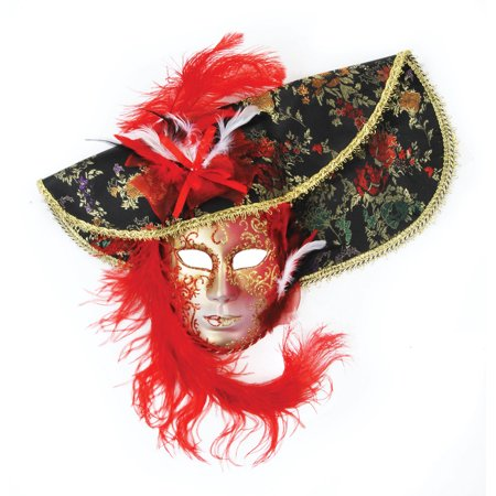 - Loftus Feather Hat Full Face Venetian Mask, Red Black, One Size