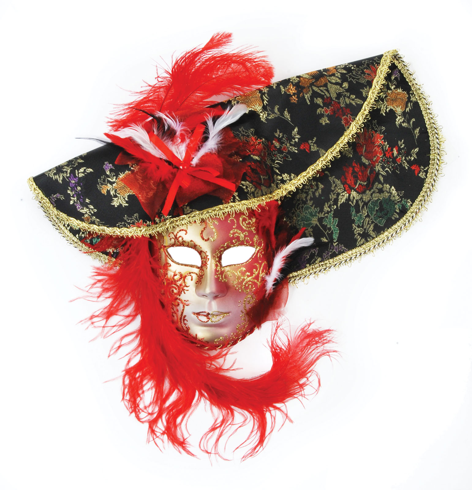 Loftus Feather Hat Full Face Venetian Mask, Red Black, One Size