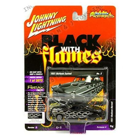 Johnny Lightning Street - JOHNNY LIGHTNING 1:64 STREET FREAKS 2018 RELEASE 4 VERSION B - 1951 HUDSON HORNET (BLACK WITH GREY FLAMES) JLSP052-24B
