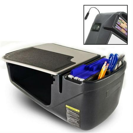 QBC Bundled AutoExec Efficiency GripMaster Portable Car Seat Desk With Built In 250 Watt Inverter