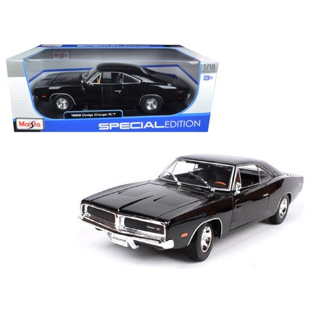 18 1969 Dodge Charger - 1969 Dodge Charger R/T Black 1/18 Diecast Model Car by Maisto