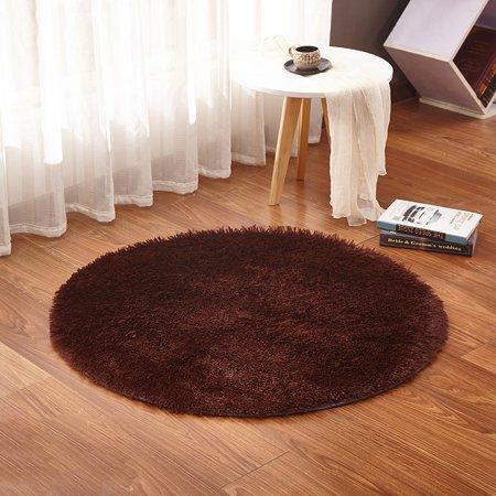 Round Fluffy Fur Non-slip Floor Rug Bedroom Bathroom Home Carpet Chair -