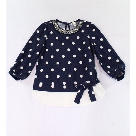 Girls Large Embellished Layered Polka-Dot Shirt L