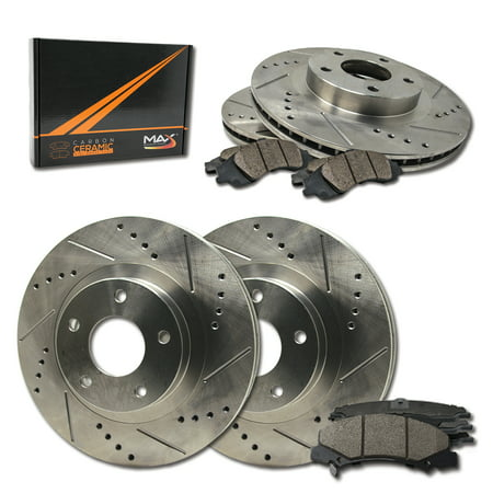 Max Brakes Front & Rear Performance Brake Kit [ Premium Slotted Drilled Rotors + Ceramic Pads ] KT148133 | Fits: 2011 11 2012 12 2013 13 Scion TC - image 8 of 8