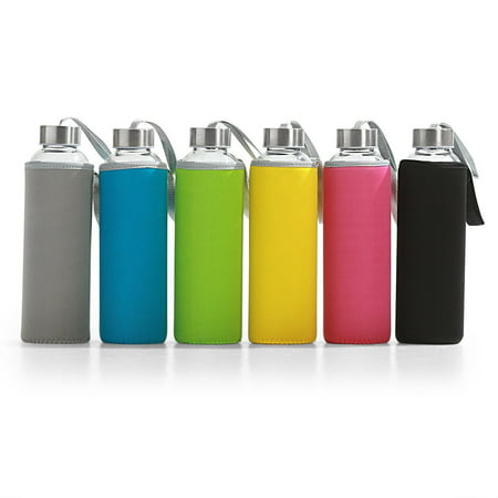 6 pk Glass Water Bottles w Insulated Neoprene Sleeves 18 oz Multi-Color Reusable - Lenon Glasses
