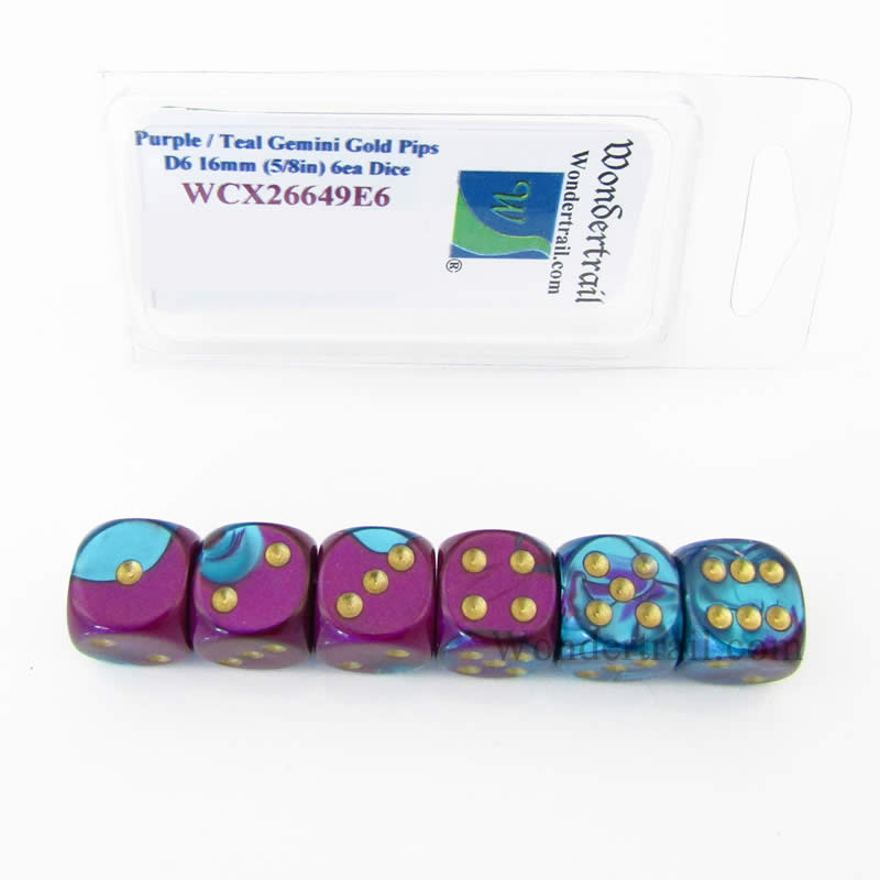 Purple and Teal Gemini Dice with Gold Pips D6 16mm (5/8in) Pack of 6 Wondertrail