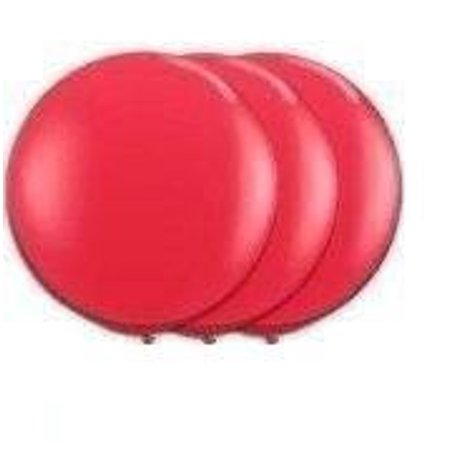 36 Inch Giant Round Red Latex Balloons By Tuftex  Premium Helium Quality  Pkg 3