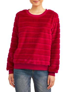 No Boundaries Juniors' Plus Size Faux Fur Pullover Sweater