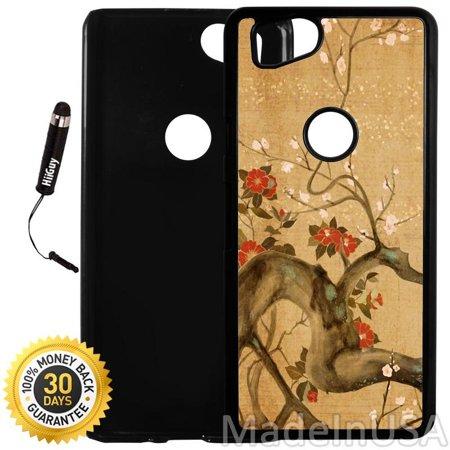 Custom Google Pixel 2 Case (Cherry Tree Artistic) Plastic Black Cover Ultra Slim | Lightweight | Includes Stylus Pen by Innosub Black Cherry Two Light