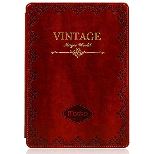 Mosiso iPad Mini 4 Case, Classic Retro Book Style Smart Cover for iPad Mini 4 Released on 2015, Red
