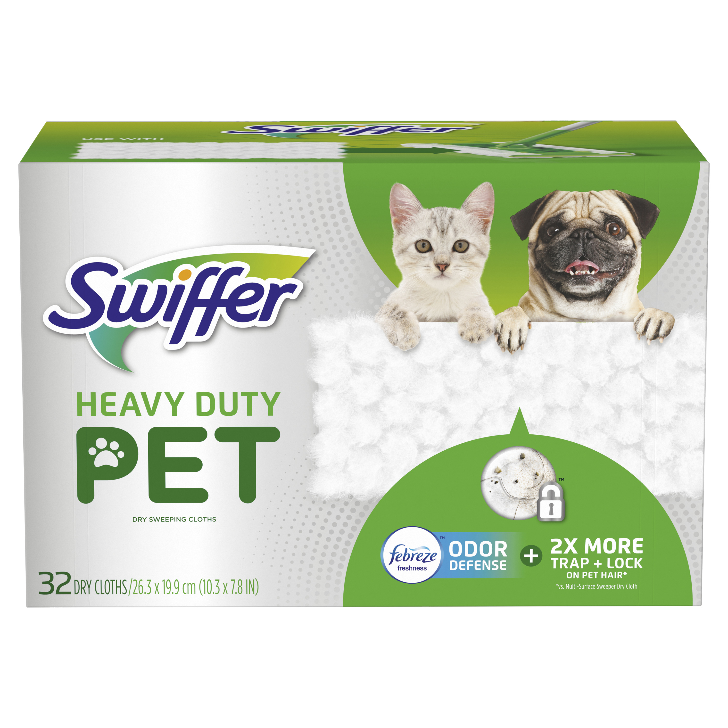 Swiffer Sweeper Pet Heavy Duty Dry Sweeping Cloths with Febreze Odor Defense, 32 count