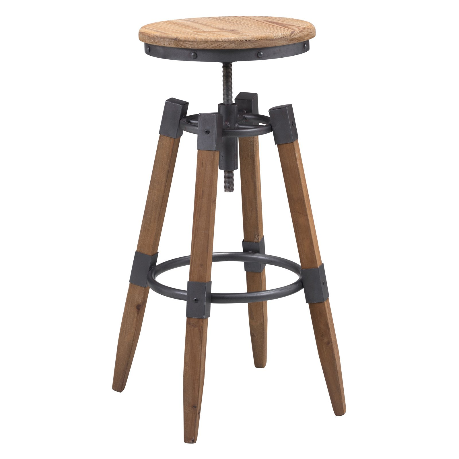 Curry Barstool Natural Pine Amp Industrial Gray Walmart Com
