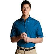 Ed Garments 1230 Men's Easy Care Short Sleeve Poplin Shirt - Sapphire - Large