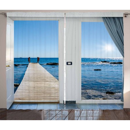 Beach Curtains 2 Panels Set, Coastal Theme with the Ocean Sea Sunny Day Scenery with Patio from Window, Window Drapes for Living Room Bedroom, 108W X 63L Inches, Pale Blue and White, by Ambesonne ()