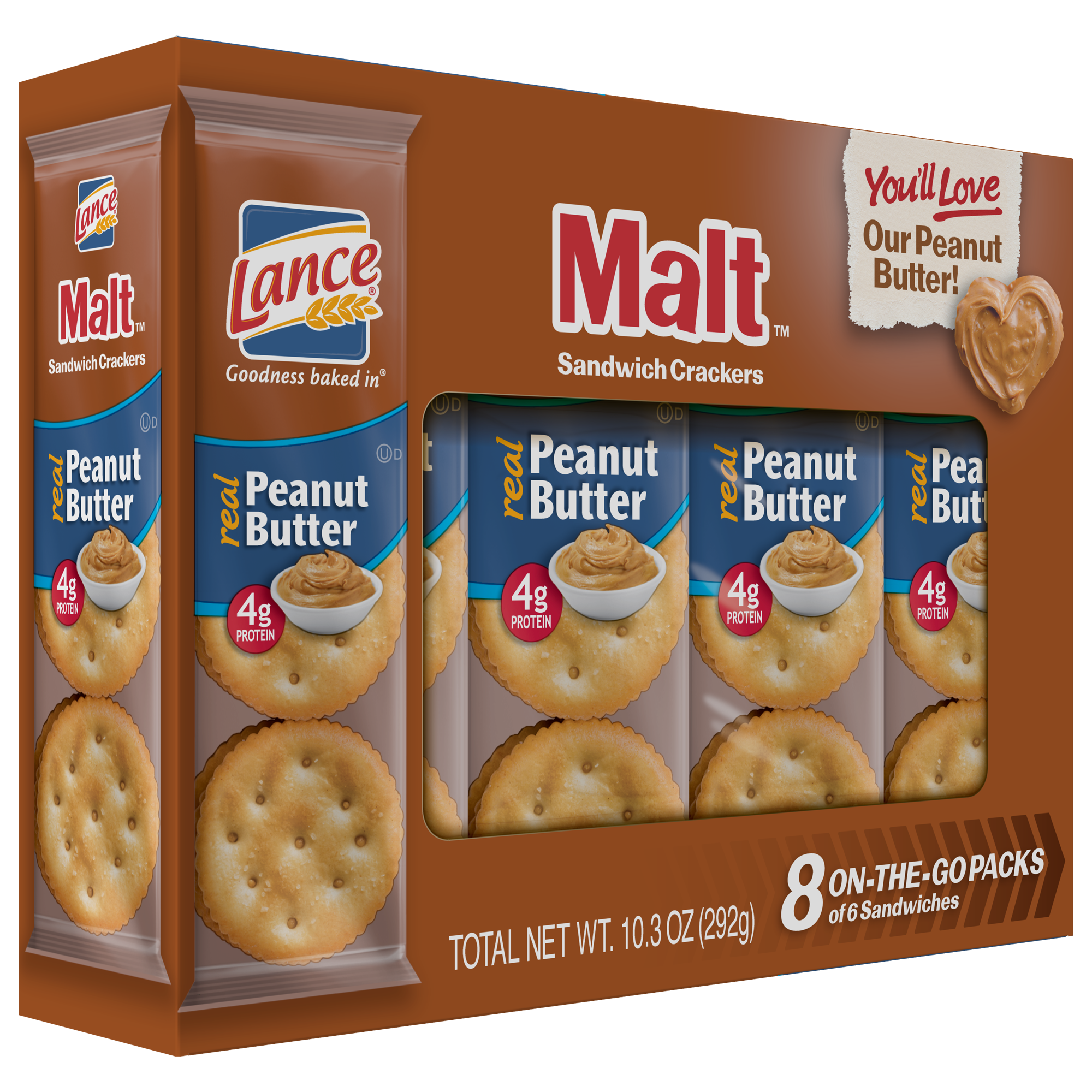 Lance Malt Peanut Butter Crackers 10.3 oz 8 Count Boxes - Single Pack