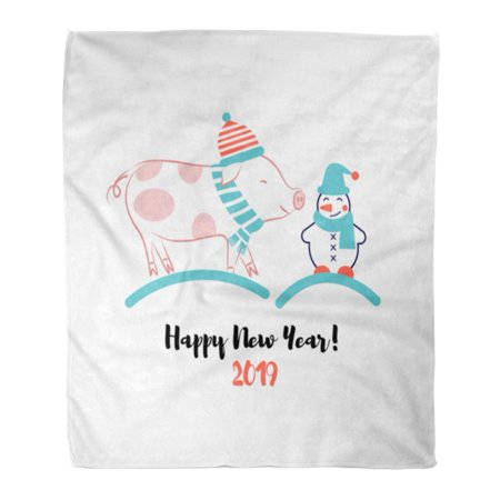 JSDART Throw Blanket 50x60 Inches Cute Character for New Year Line of Pig and Snowman Text Happy Warm Flannel Soft Blanket for Couch Sofa Bed - image 1 of 1