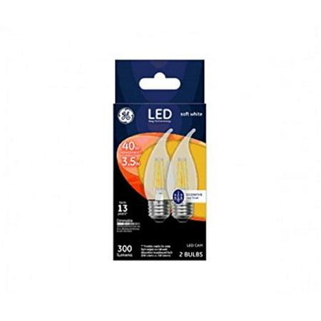Ge 23100 Led Cam Light Bulb, Soft White, Clear, 40 Watts, 300 Lumens, Pack Of 2