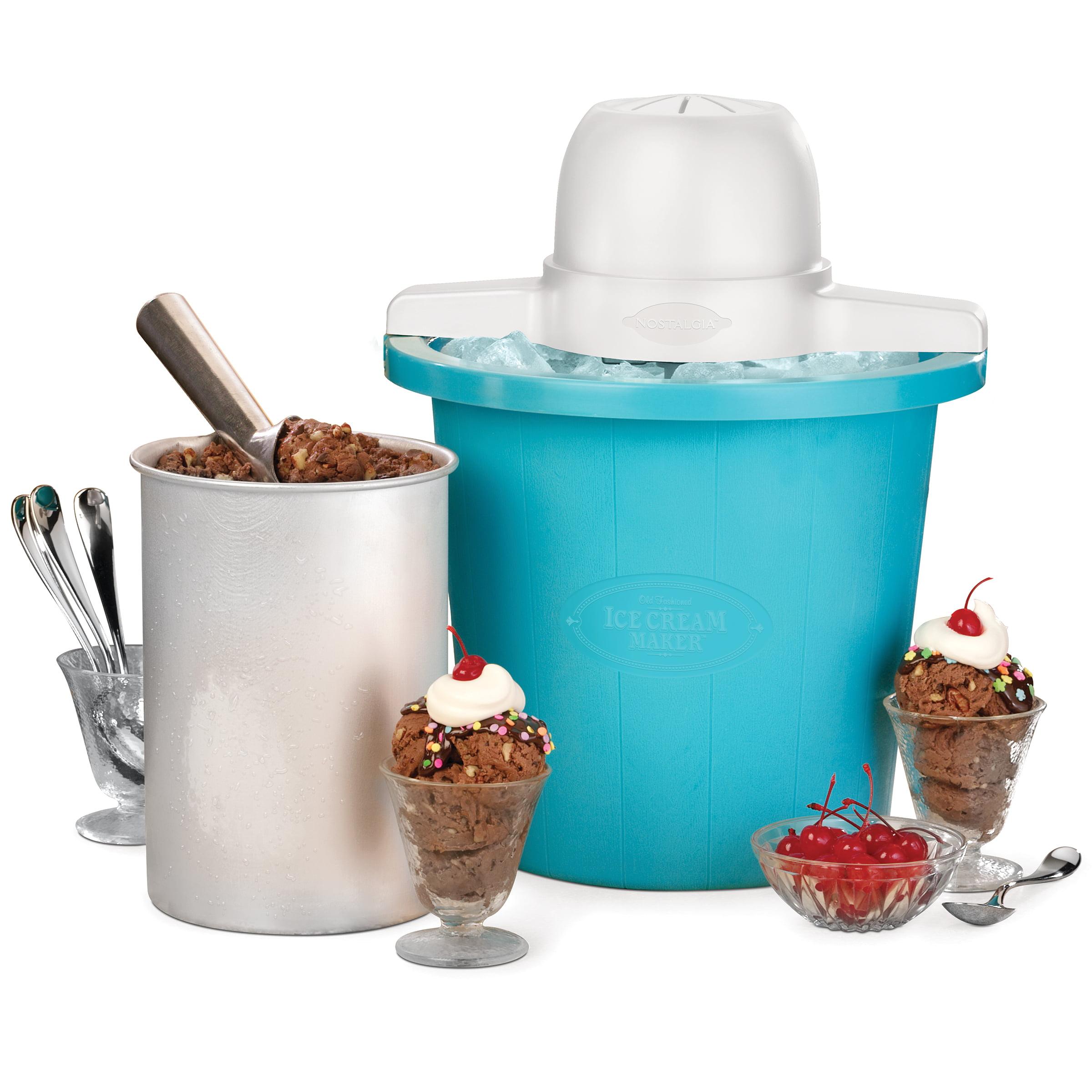 Nostalgia 4-Quart Blue Bucket Electric Ice Cream Maker, ICMP4BL