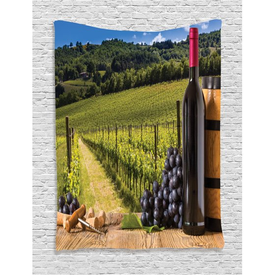 Wine Decor Tapestry Wall Hanging Red Wine Bottles with Grapes on ...