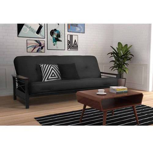 "DHP Nadine Metal Wood Arm Futon with 6"" Independently Encased Coil Mattress, Multiple Colors"