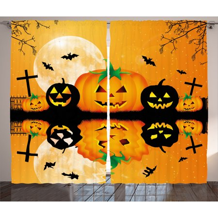 Halloween Decorations Curtains 2 Panels Set, Spooky Carved Halloween Pumpkin Full Moon with Bats and Grave Lake, Window Drapes for Living Room Bedroom, 108W X 90L Inches, Orange Black, by Ambesonne - Grave Halloween Full